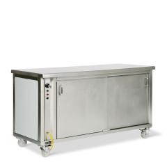 Banque d'accueil neutre avec armoire réchaud