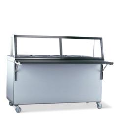 Comptoir de distribution chaud 4x 1/1 GN avec étage