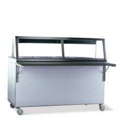 Comptoir de distribution chaud 4x 1/1 GN avec lampe de maintien au chaud et étage