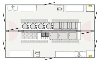 Warme keuken (set van twee 10m units)