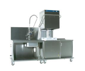 Vaatwasmachine doorschuif met voorwas en afzettafel